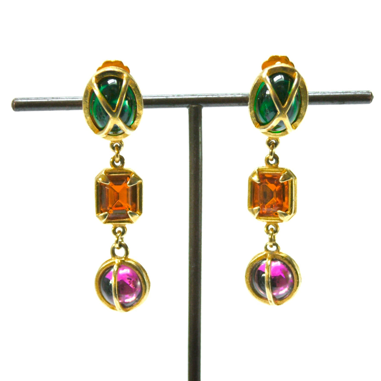 1980s Vintage Jewel Clip On Drop Earrings