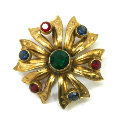 Electica Vintage Jewellery 1960s vintage austrian gold plate and rhinestone brooch