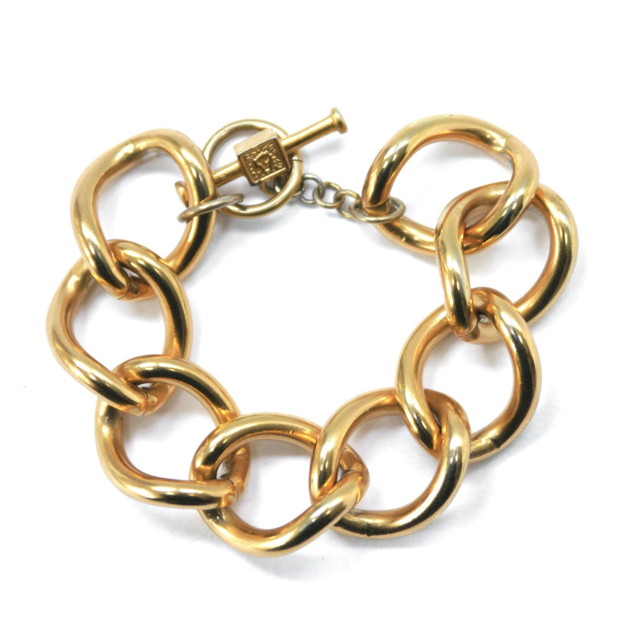 Anne Klein heavy link 1980s gold plated bracelet
