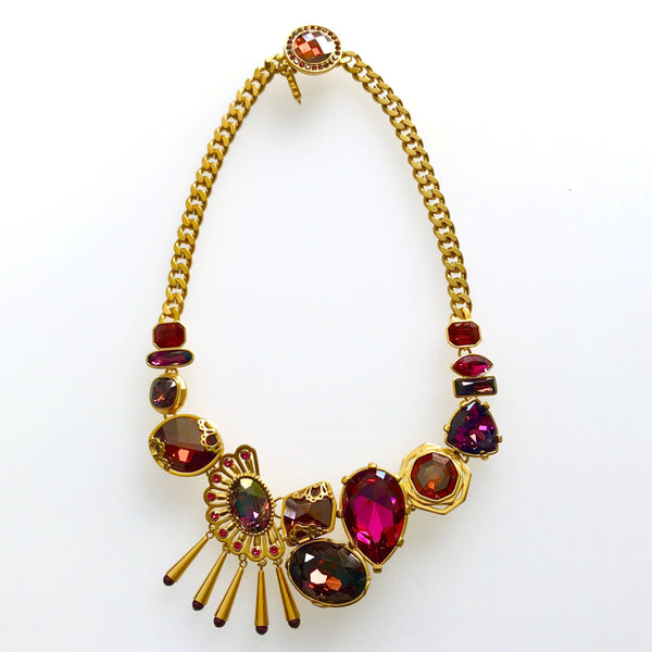 1980s Ciro Statement Necklace, Gold Plate, Cerise