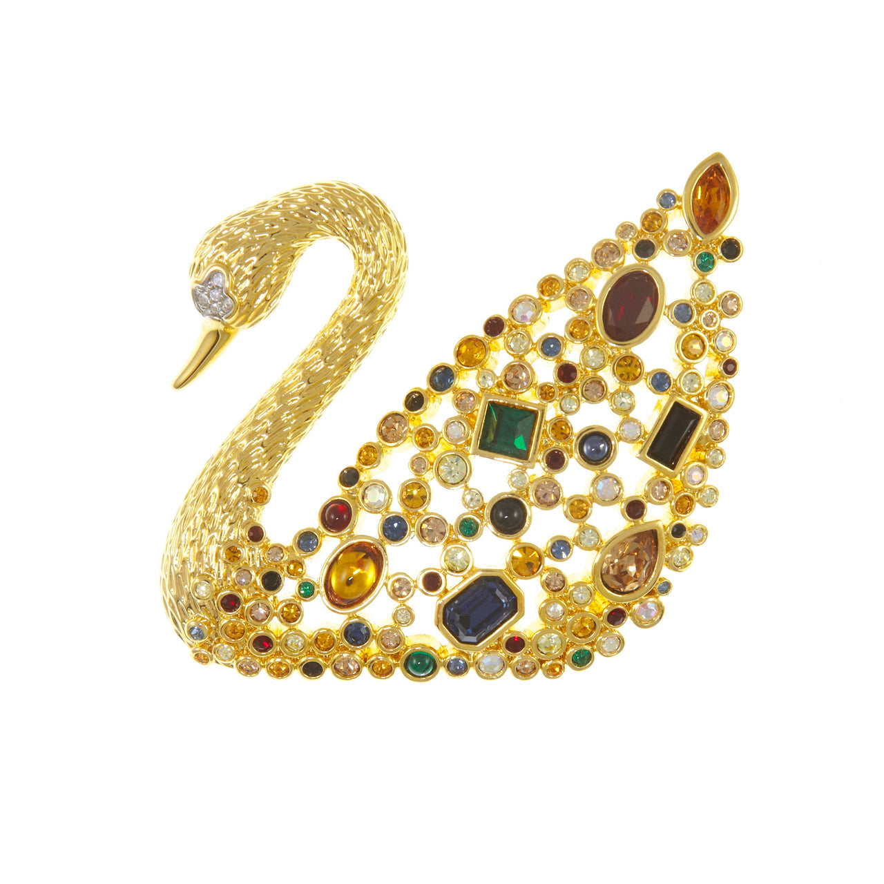 Swarovski Swan gold plated brooch
