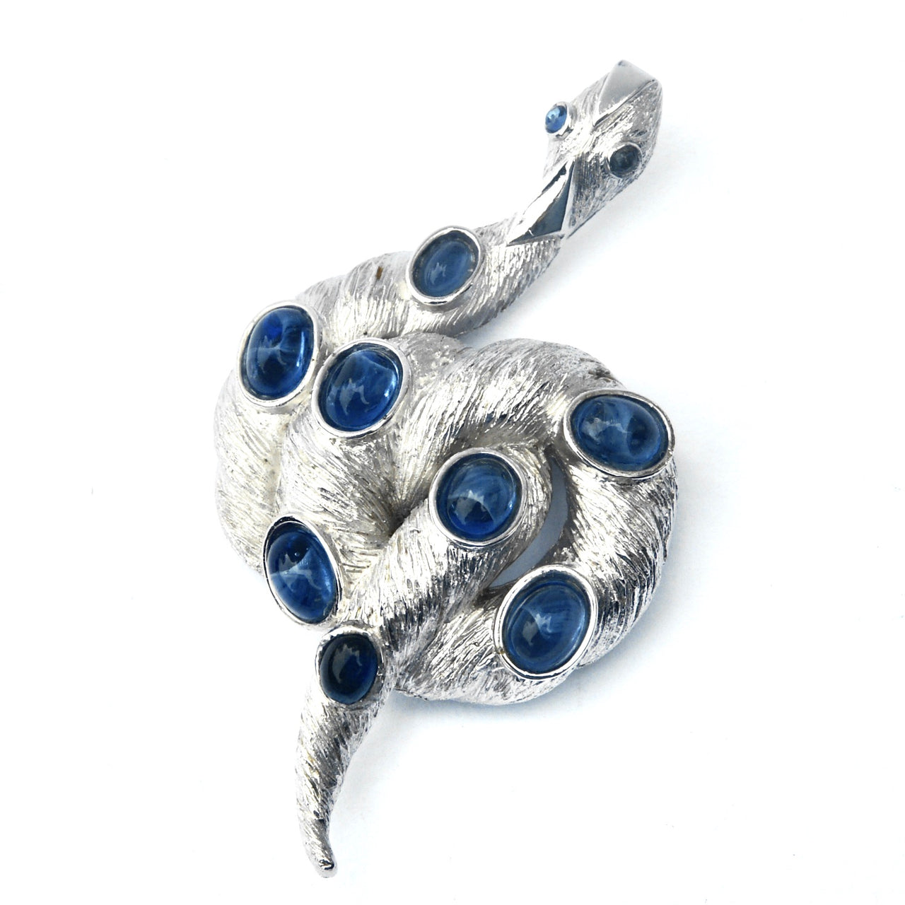 Eclectica Vintage Jewellery | UK | 1960s Vintage Trifari Serpent Snake Brooch, Blue