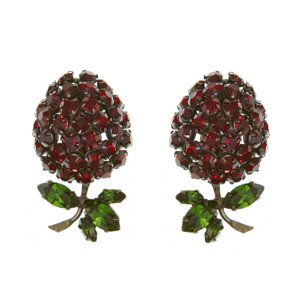 1950s Vintage Schreiner Berry Clip On Earrings, Red