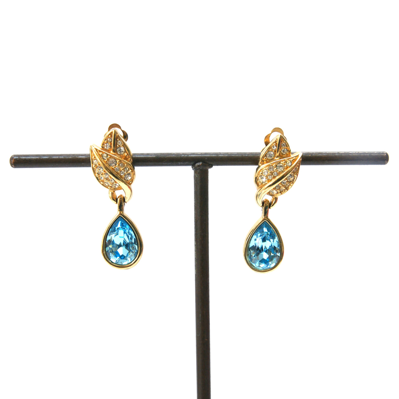 Eclectica Vintage Jewellery | UK | 1990s Swarovski Crystal Clip-On Drop Earrings, gold plate and blue crystal