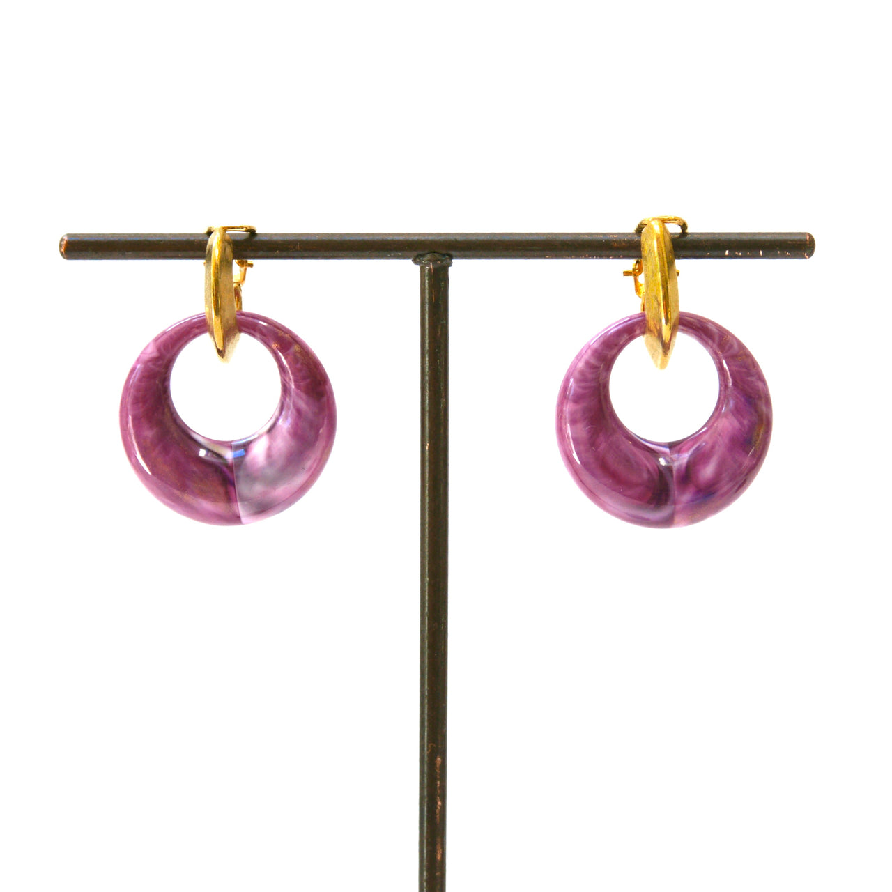 1970s Purple Drop Clip On Earrings