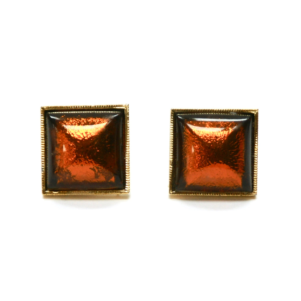 1960s Orange Glass Cufflinks