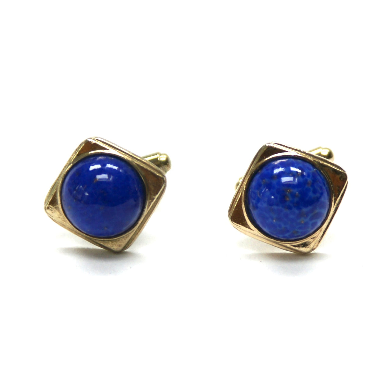 Eclectica Vintage 1950s Blue Glass and gold plated cufflinks unisex women's men's
