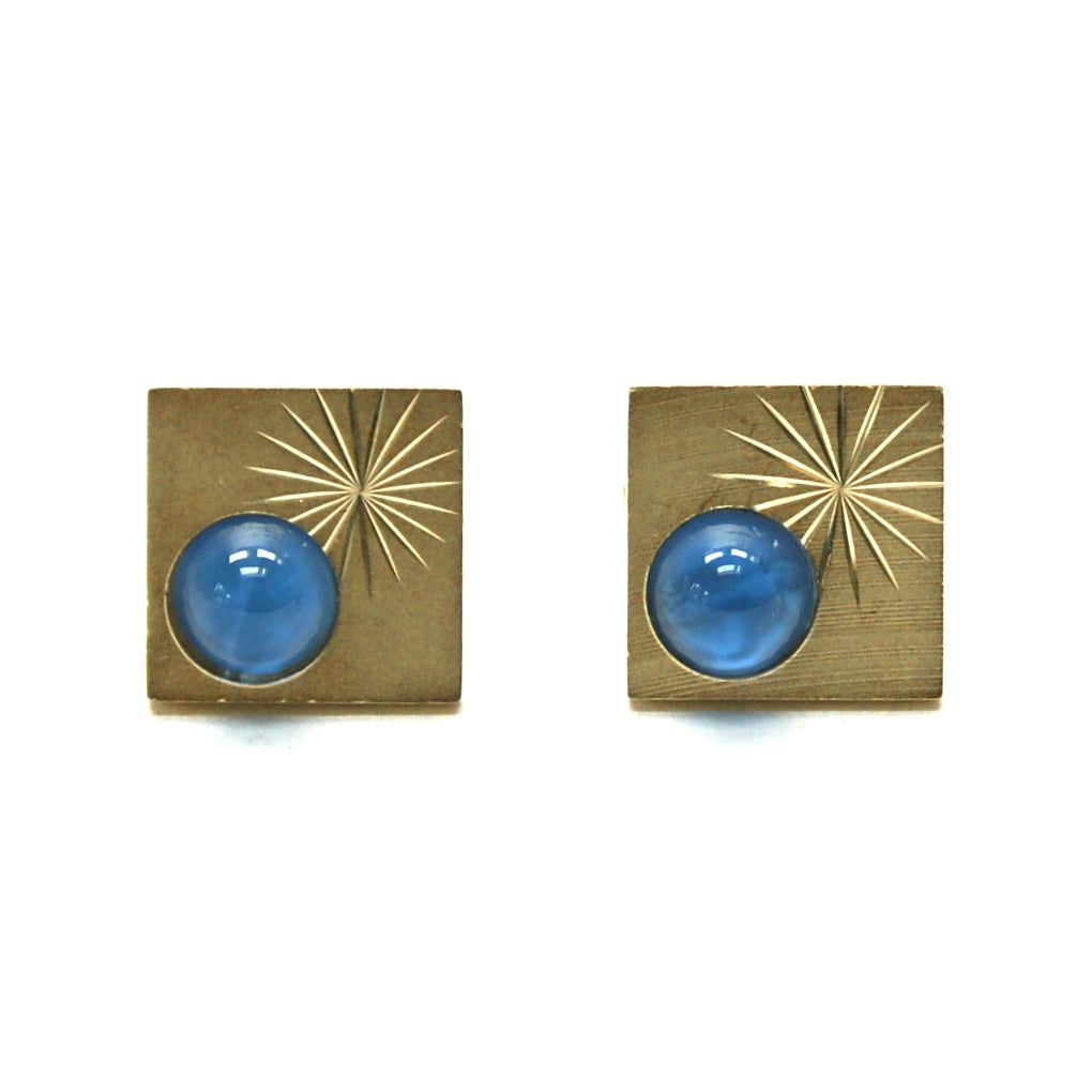 Eclectica Vintage Jewellery 1950s Vintage gold plate and blue cufflinks men's women's unisex