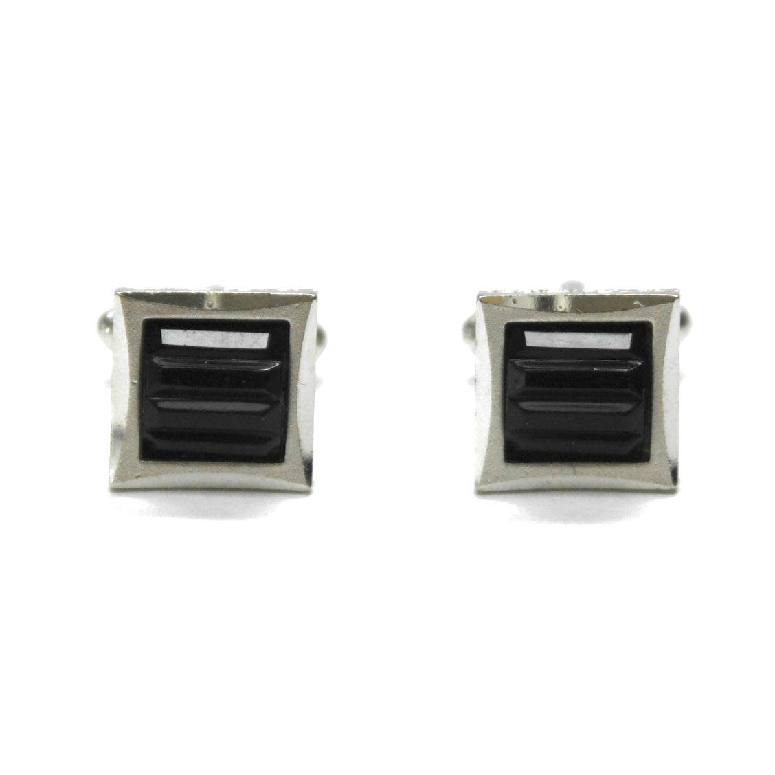 1980s Small Glass Cufflinks, Black