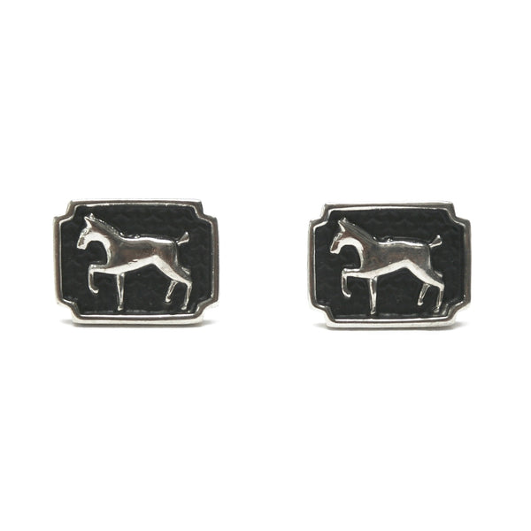 Eclectica Vintage Jewellery 1950s Vintage chrome horse cufflinks men's women's unisex