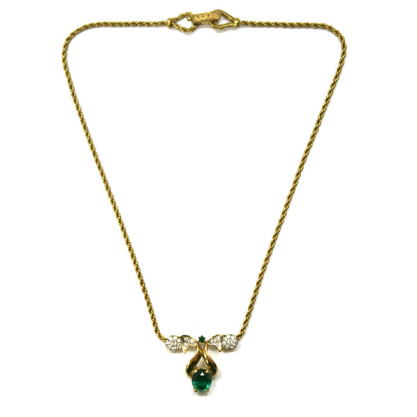Eclectica Vintage Jewellery | UK | 1960s Vintage Attwood & Sawyer gold plate and green necklace