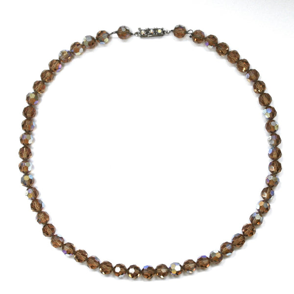 Eclectica Vintage Jewellery | UK | 1960s Vintage Austrian Crystal beads necklace, brown