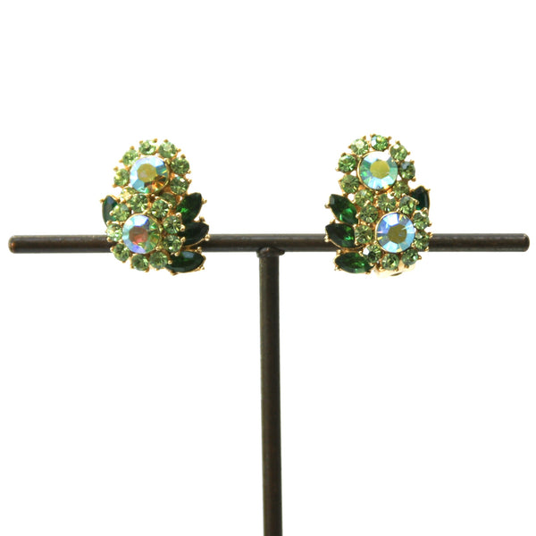 Eclectica Vintage Jewellery | UK | 1950s Vintage Trifari Rhinestone Clip-On Earrings, Green