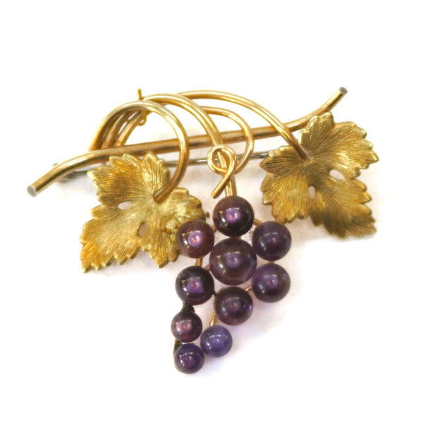 Eclectica Vintage Jewellery | UK | 1950s Vintage Krementz Grape Vine Brooch, Rolled Gold, Amethyst