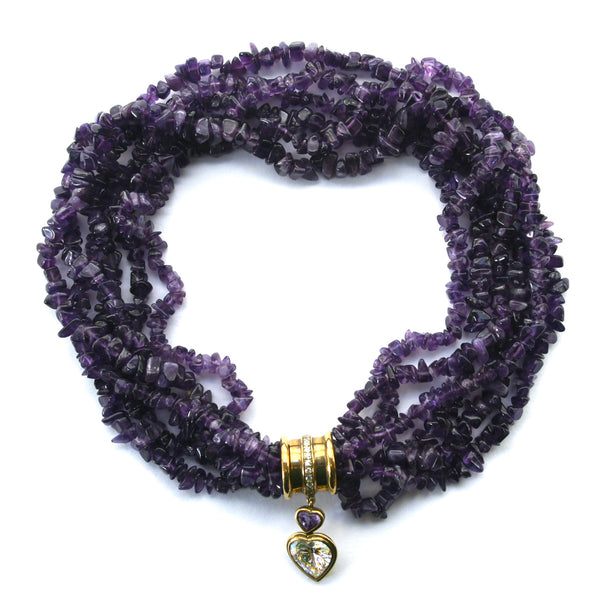Eclectica Vintage Jewellery | UK | 1980s Vintage Statement Amethyst Beaded Necklace