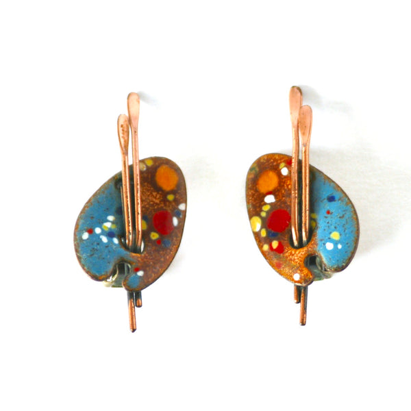 Eclectica Vintage Jewellery | UK | 1950s Vintage Matisse Copper Painter's Pallet Clip-On Earrings
