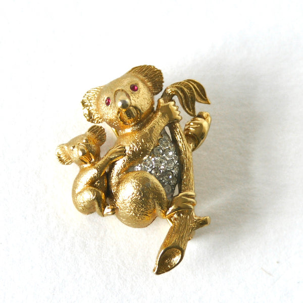 Eclectica Vintage Jewellery | UK | 1980s Vintage Attwood & Sawyer Koala Bears Brooch