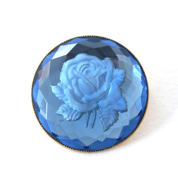 1940s Vintage Rose Brooch, Blue