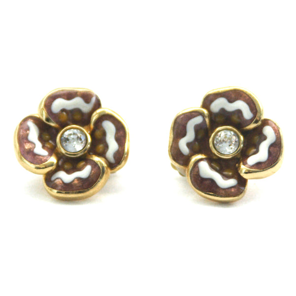1970s Vintage Christian Dior Flower Clip On Earrings