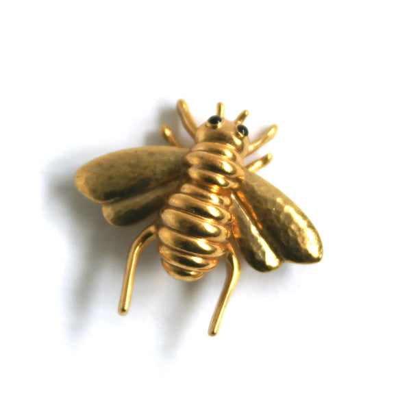 1980s Vintage Bee Brooch, Gold Plate