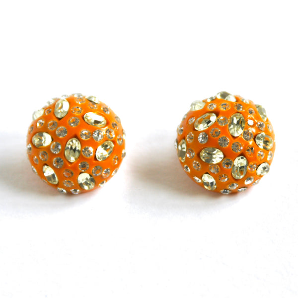 Weiss, resin earrings, orange earrings, clip on earrings, encrusted