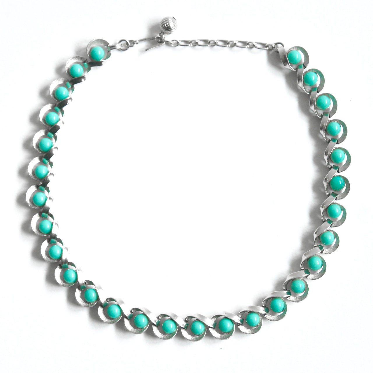 1960s Vintage Trifari Turquoise Chrome Necklace