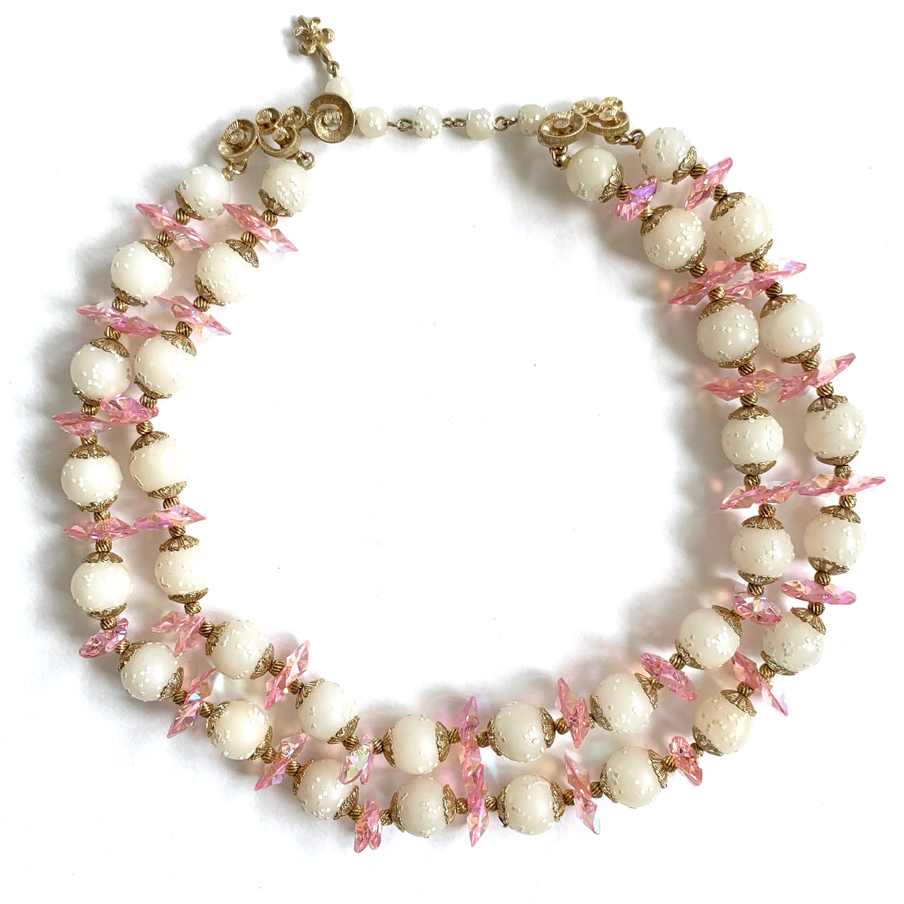 1950s Vintage Vendome Double Row Necklace, Cream, Pink