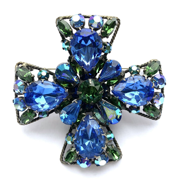 Large 1960s Vintage Regency Rhinestone Cross Brooch, Blue, Green