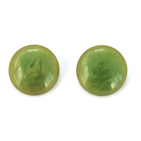 green bakelite clip on earrings