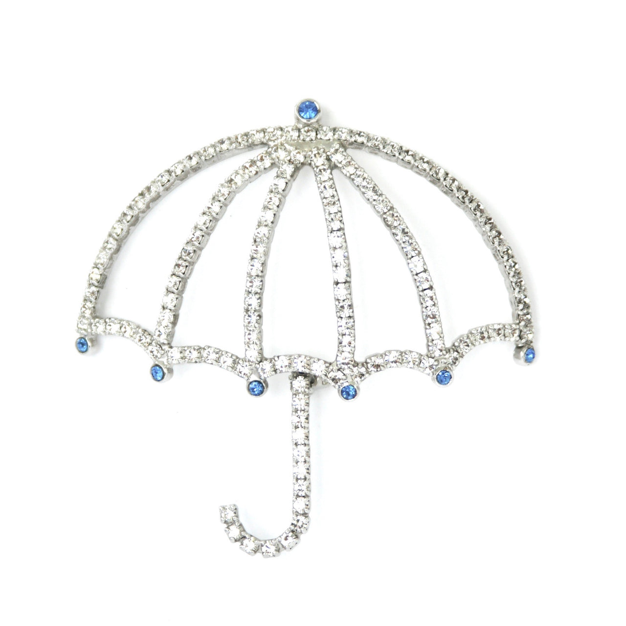 1980s Vintage Diamanté Umbrella Brooch