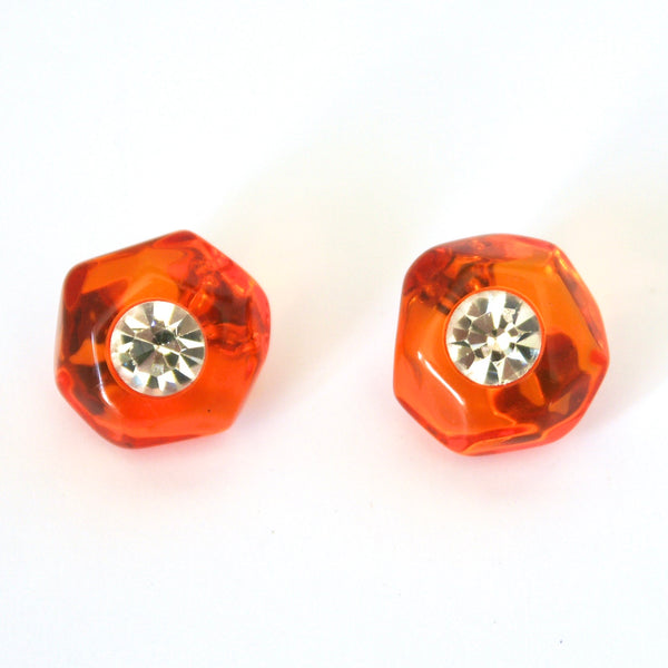 1980s Vintage Orange Resin Clip On Earrings
