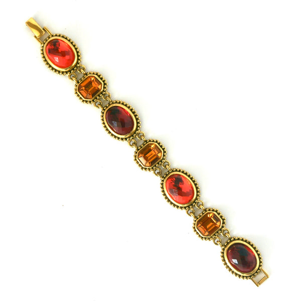 1990s Vintage Joan Rivers Bracelet, Gold Plate, Orange