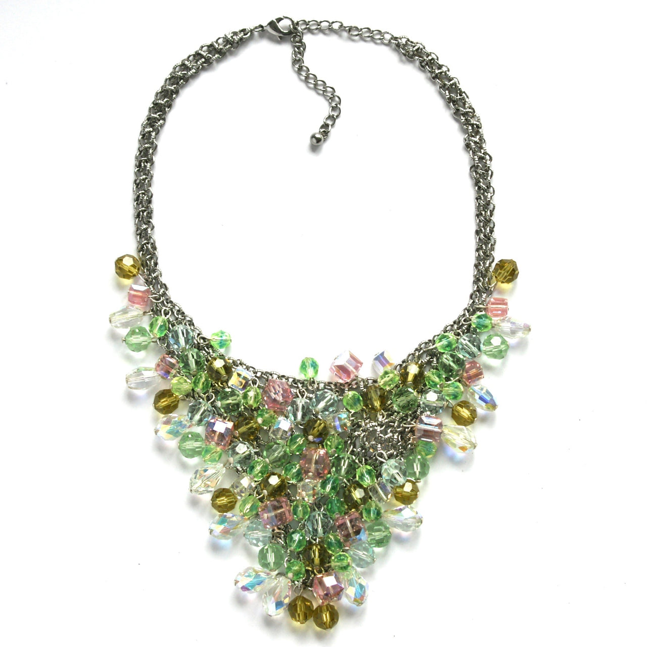 Vintage Waterfall Necklace in pastel crystals by Sarah Booth