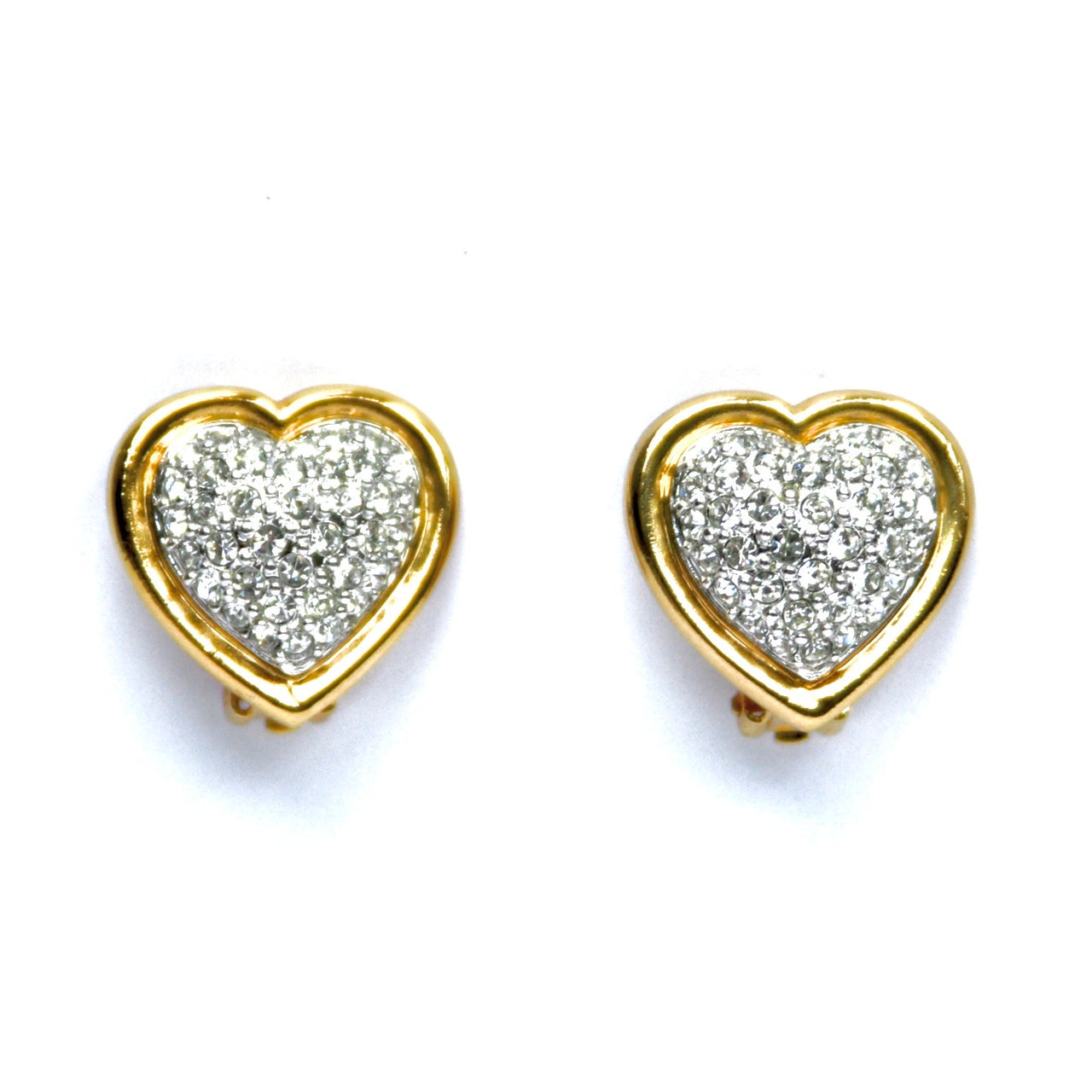 Gold plated 1980s Vintage Swarovski Crystal Heart Clip On Earrings