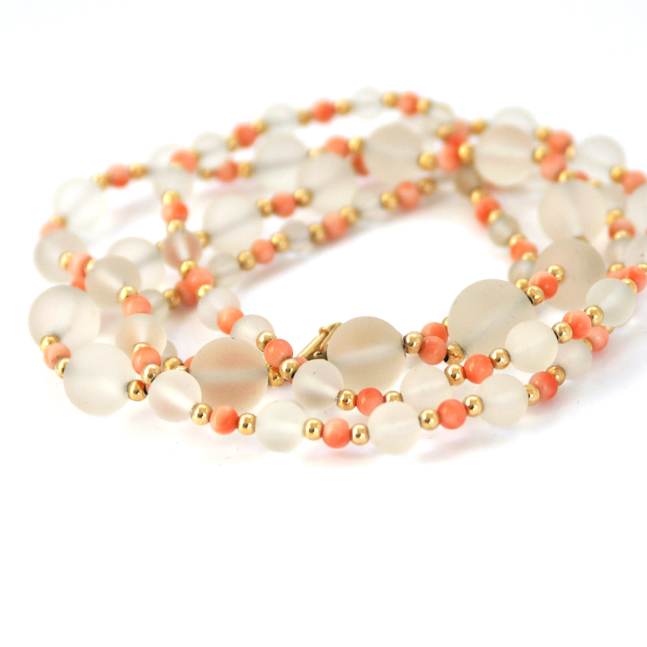 opaque beads, coral, rolled gold, vintage beads, vintage beads necklace