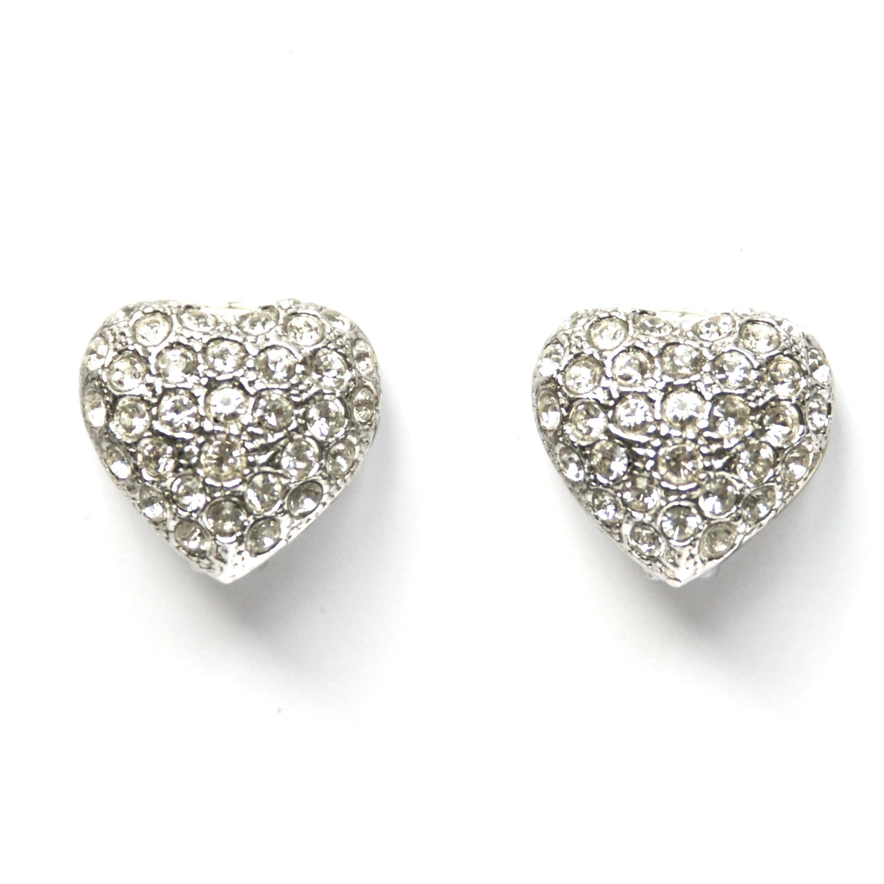 1980s Vintage Diamanté Heart Clip On Earrings