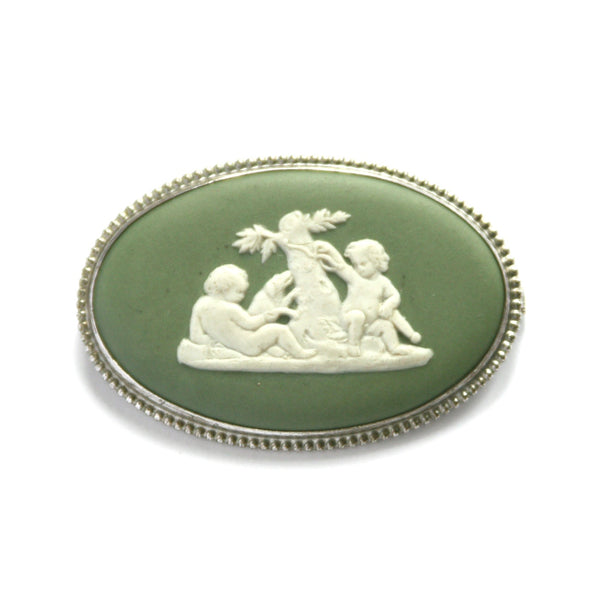 1970 Vintage Wedgewood Brooch, Sea Green, Silver