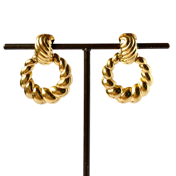 1980s Vintage Christian Dior Door Knocker Clip-On Earrings