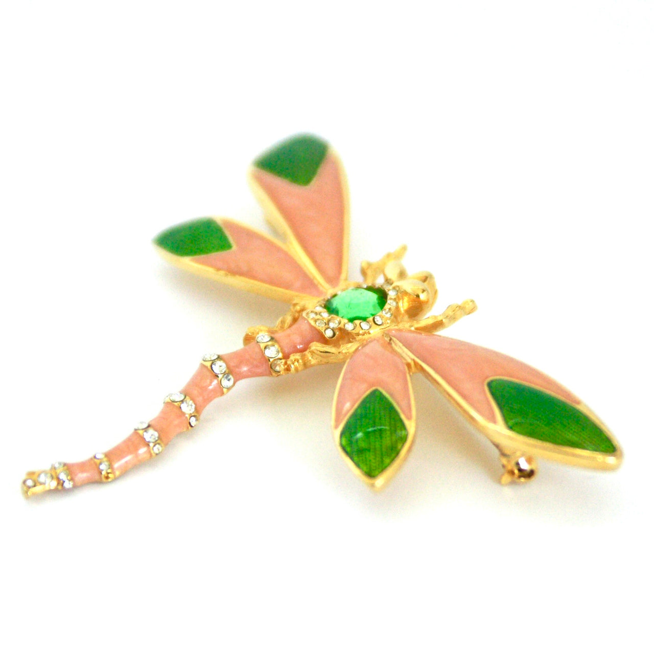 vintage dragonfly brooch, peach, green enamel