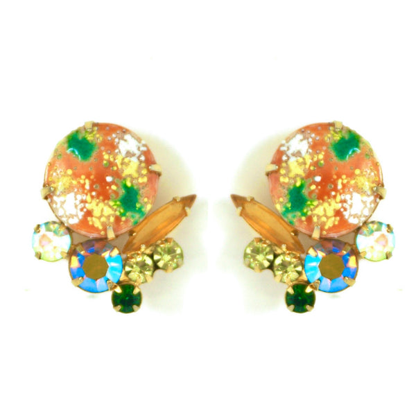 1950s Vintage Julianna Rhinestone Clip On Earrings