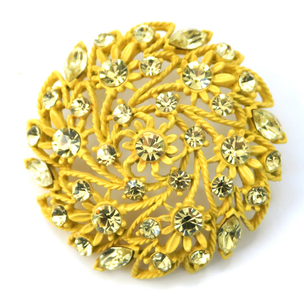 1960s Vintage Yellow Brooch