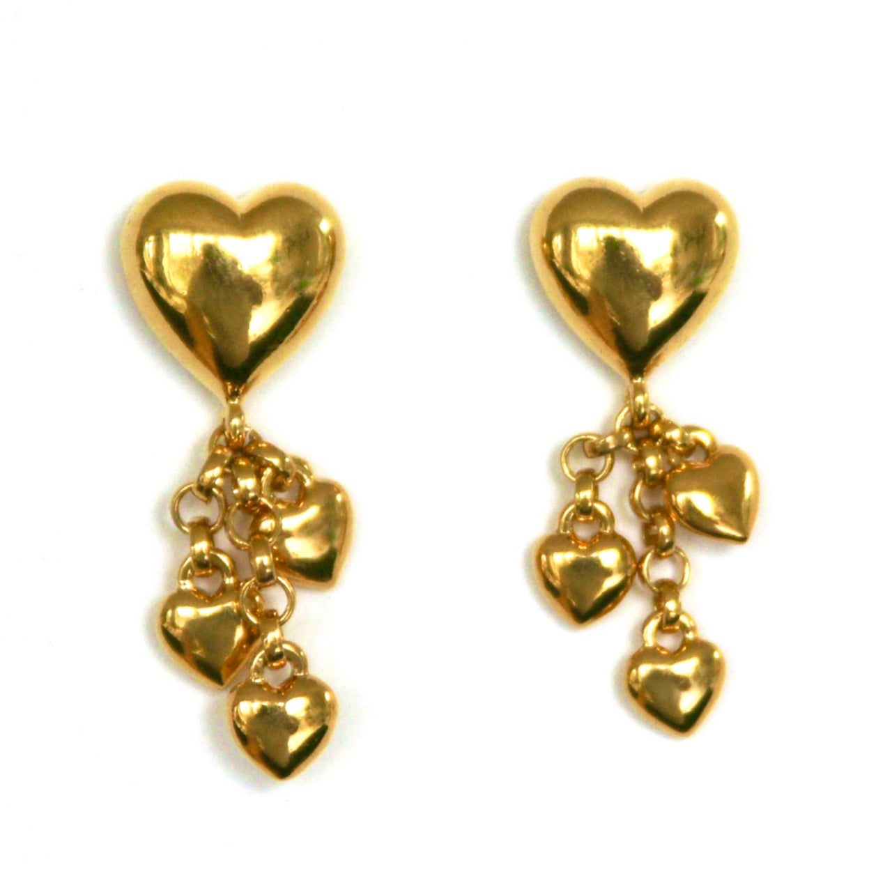 Vintage Heart Charms Drop Earrings, Pierced