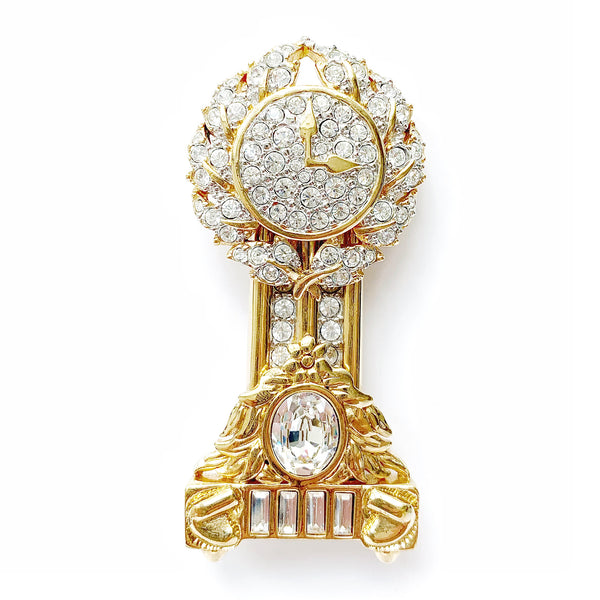 1980s Swarovski Grandfather Clock Brooch