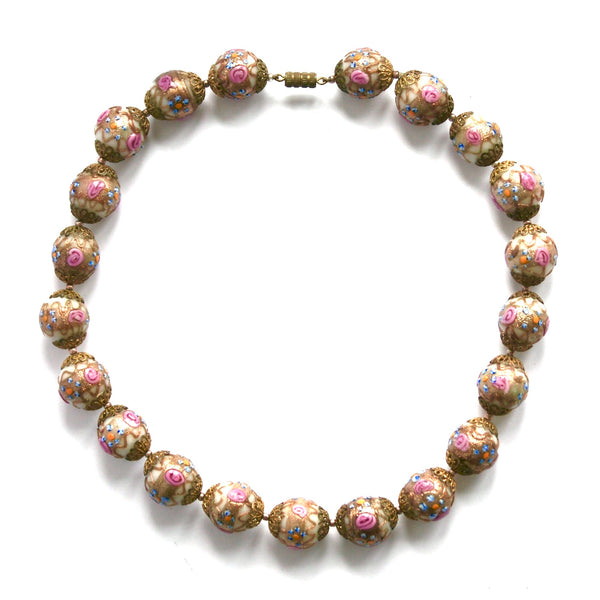 1950s Vintage Venetian Glass Beads Necklace, Pink, Beige