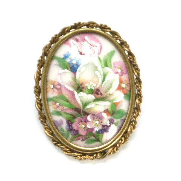 Vintage French Limoges Hand Painted Floral Brooch