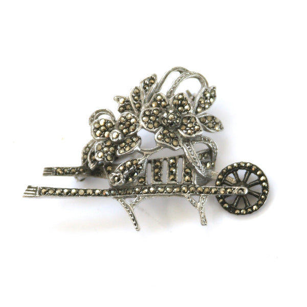1955 Vintage Sterling Silver & Marcasite Wheelbarrow Brooch