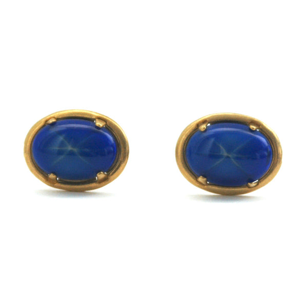Blue glass 1960s cufflinks