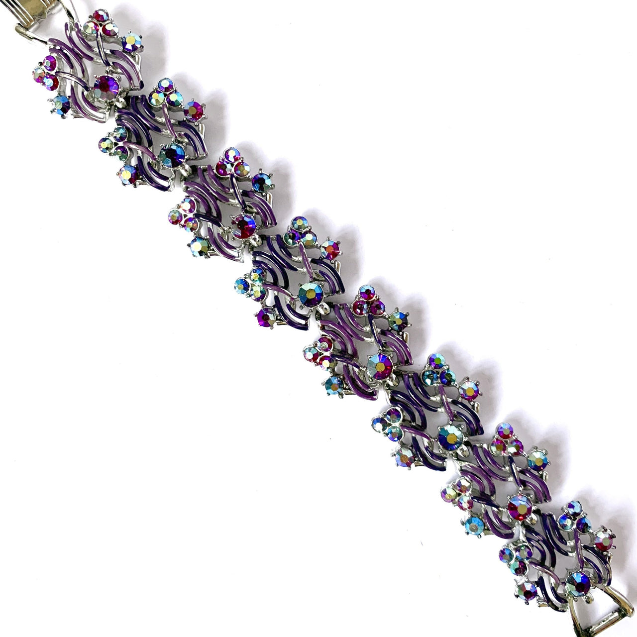 1950s Vintage Jewelcraft Bracelet, Purple, Red