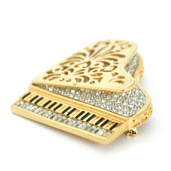 1980s Vintage Swarovski Grand Piano Brooch, Gold Plate