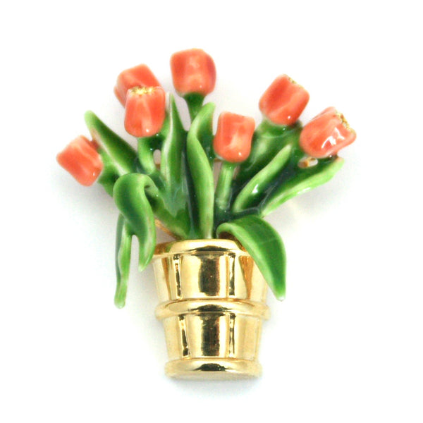 Mother's day gifts, tulips, tulip bouquet, flower bouquet, flower gift, flower brooch, enamel brooch